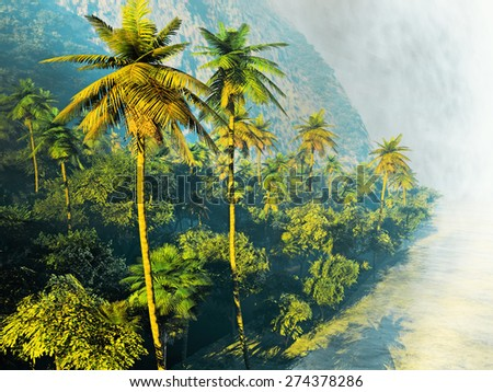 Beautiful rainforest with palm trees - stock photo