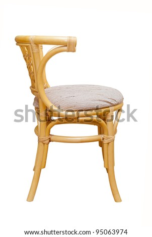 beautiful rattan chair on a white background - stock photo