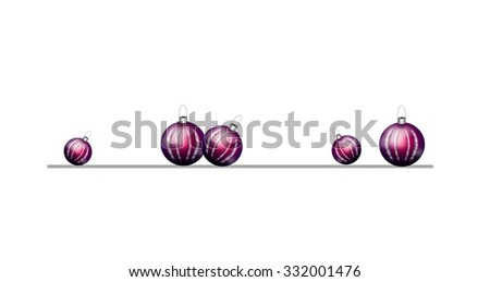 Beautiful realistic illustration of purple christmas bulbs decoration line - stock photo