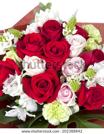 Beautiful red and pink roses bouquet for celebration and wedding.