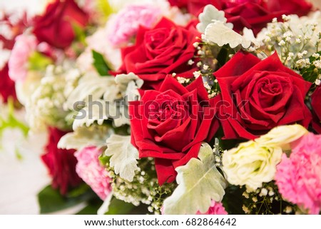Beautiful Red and white roses bouquets at weddings and celebrations, copy space.