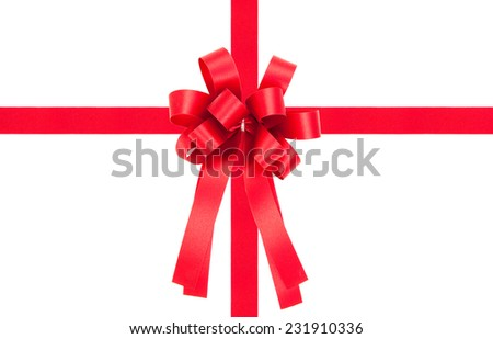 Beautiful red bow from satin ribbon on white background - stock photo