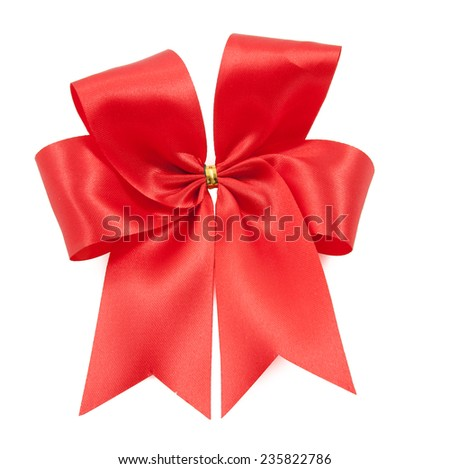 Beautiful red bow from satin ribbon on white background