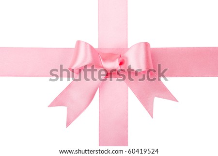 Beautiful red bow on white background - stock photo
