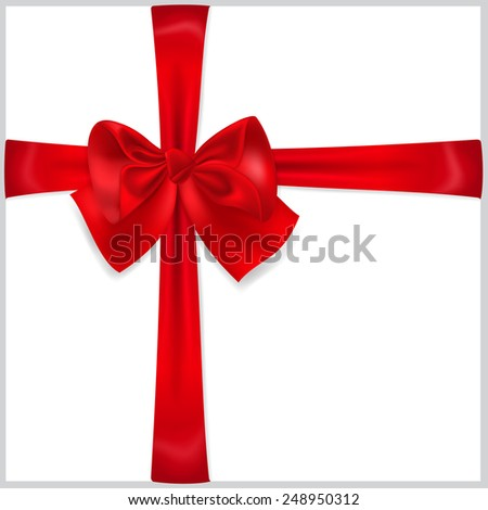 Beautiful red bow with crosswise ribbons - stock photo
