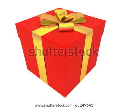 beautiful red box wrapped with gold ribbon - stock photo