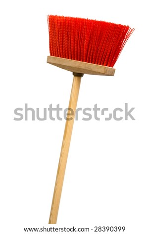 Beautiful red broom on a white background - stock photo