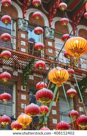 Beautiful red Chinese lanterns in Chinatown of San Francisco, California, USA - stock photo