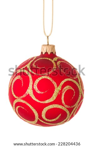 Beautiful red christmas ball isolated on a white background. - stock photo