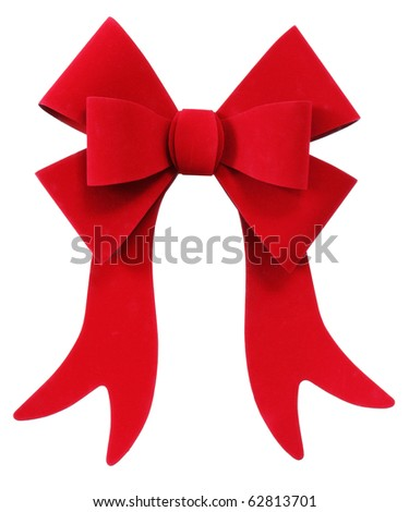 Beautiful red Christmas ribbon on white background