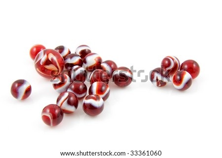 beautiful red colored shoot marbles isolated on white background