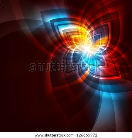 Beautiful red cover with shiny color flower. Rasterized version - stock photo