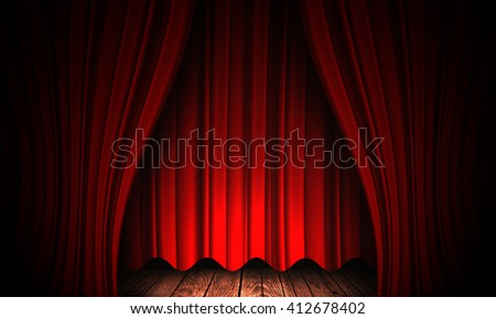 Beautiful red curtain background with abstract folds - stock photo