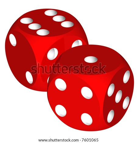 Beautiful red dice isolated on white - stock photo
