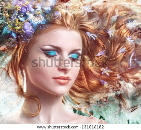 beautiful red face with closed eyes and flowers in her hair close-up - stock photo