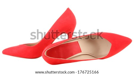 Beautiful red female shoes, isolated on white - stock photo