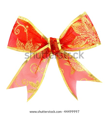 Shutterstocklvvgift bow beautiful red gift bow with golden glitter ornament isolated on white negle Image collections