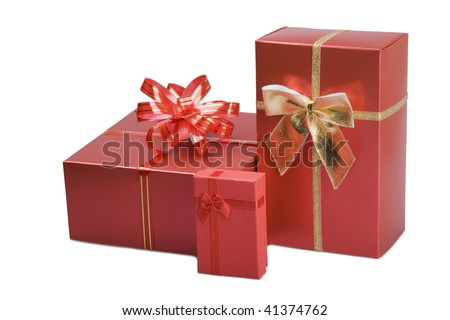 Beautiful red gifts. Isolated on white. - stock photo