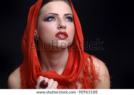 Beautiful Red Girl and make-up
