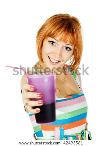 Beautiful red girl with a glass of soda and drinking straw isolated on white - stock photo