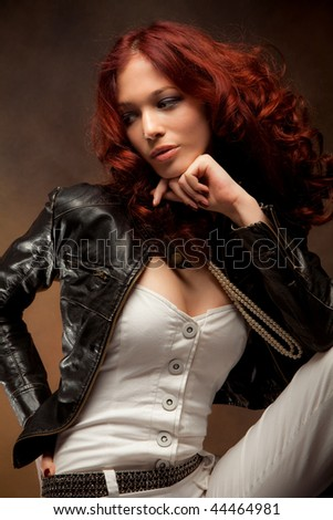 beautiful red hair woman fashion portrait, studio shot - stock photo