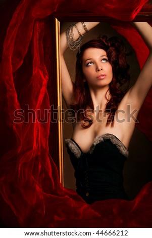 beautiful red hair woman portrait, studio shot - stock photo