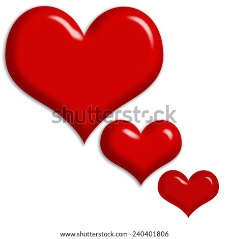 Beautiful 3 red heart isolated on white background