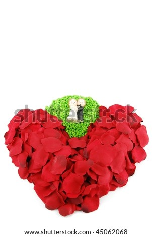 beautiful red heart made of rose petals (isolated on white background) - stock photo