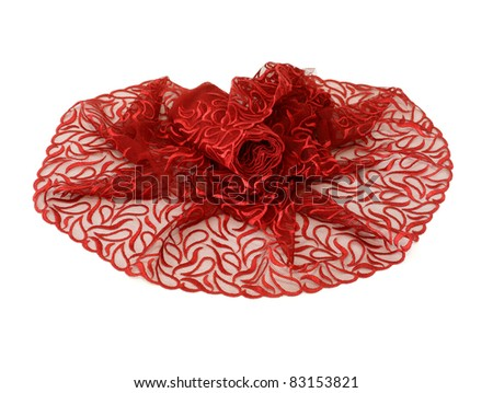 beautiful red lace with  ornament isolated on white background - stock photo