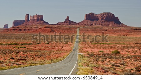beautiful red landscape from monument valley, utah - stock photo