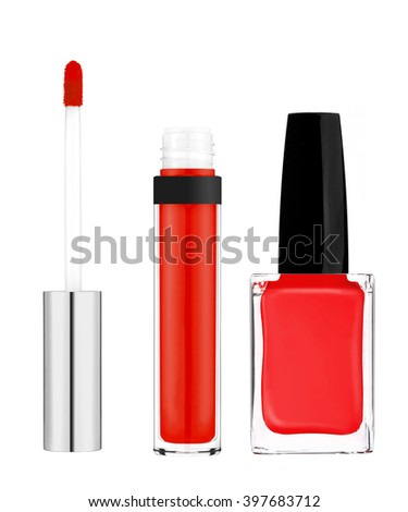 Beautiful red lip gloss and nail polish isolated on white background - stock photo