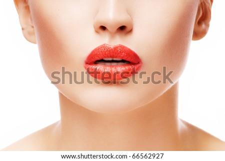 Beautiful red lips - stock photo