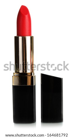 Beautiful red lipstick isolated on white - stock photo