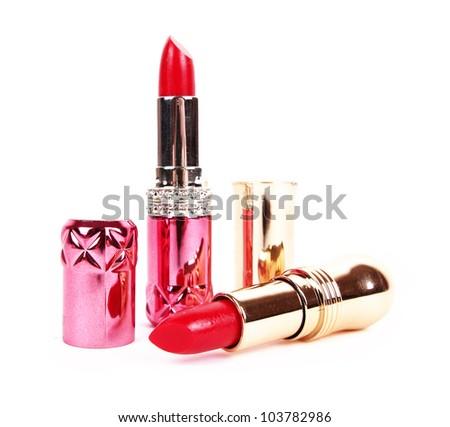 beautiful red lipsticks isolated on white background - stock photo
