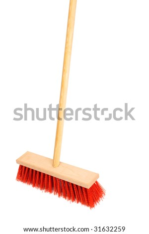 Beautiful red mop on a white background