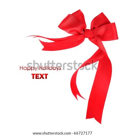 Beautiful red ribbon & bow, holiday border isolated on white background - stock photo