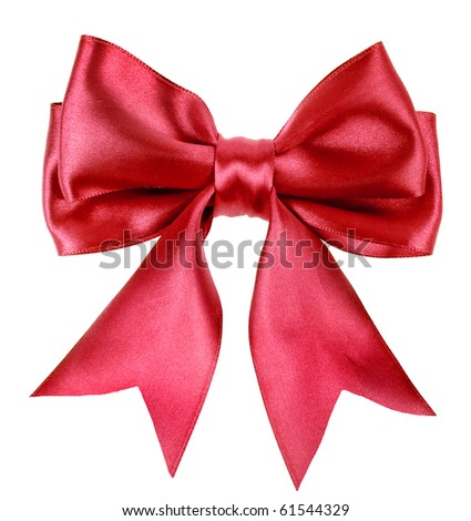 Beautiful red ribbon gift bow, isolated on white - stock photo