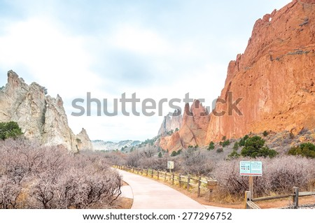 Beautiful red rock formations at Garden of the Gods is a public park located in Colorado Springs, Colorado, US. It was designated a National Natural Landmark - stock photo