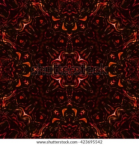 Beautiful red shiny kaleidoscopic ornament, colorful fractal repeating decoration, red precious stone seamless texture - stock photo