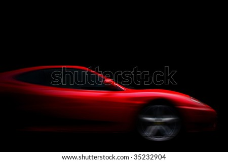 Beautiful red sport car on black - stock photo
