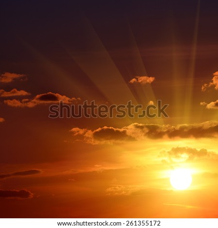 Beautiful red sunset in sky - stock photo