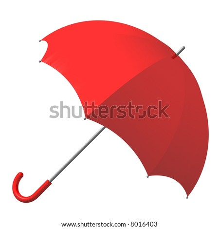 Beautiful red umbrella isolated on white - stock photo