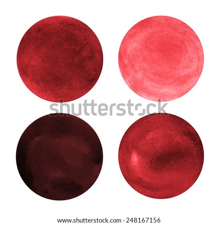 Beautiful red watercolor circles design elements isolated on white background.