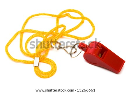 Beautiful red whistle on a yellow cord - stock photo