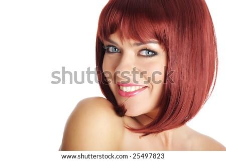 Beautiful redhead woman - stock photo