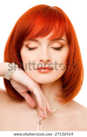 beautiful redhead woman with necklace and bracelet - stock photo