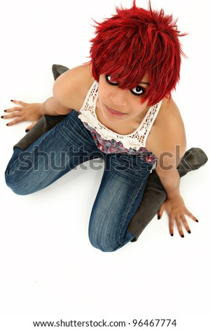 Beautiful Redheaded Black Woman over White with Makeup  Sitting Over White - stock photo