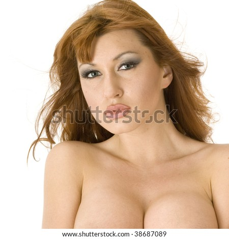 Beautiful redheaded topless woman pouting - stock photo