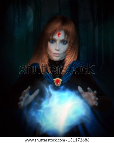 Beautiful redheaded woman wearing a cloak with red jewels and casting a spell with a forest background. - stock photo