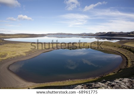 Beautiful Reflection and wonderful lakes in Iceland - stock photo